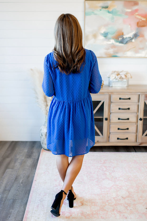 Sweet Caroline Dotted Dress (Royal Blue)