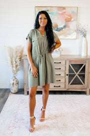 The Lana Button Dress (Olive)