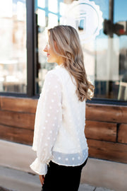 The Adaline Dotted Swiss Blouse (Cream)