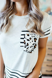 Spots & Stripes Double Pocket Tee (Grey)