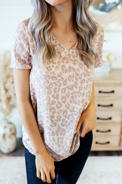 The Luna Leopard V-Neck (Mauve) FINAL SALE