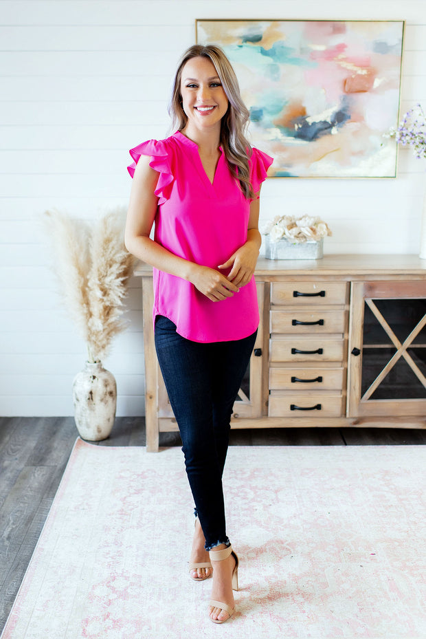 The Jerra Blouse (Hot Pink)