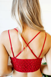 Meant To Be Lace Bralette (Red)