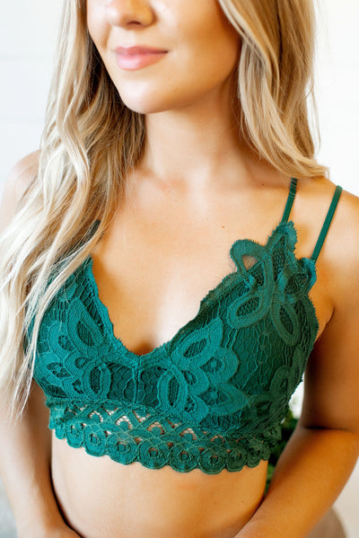 Meant To Be Lace Bralette (Hunter Green)