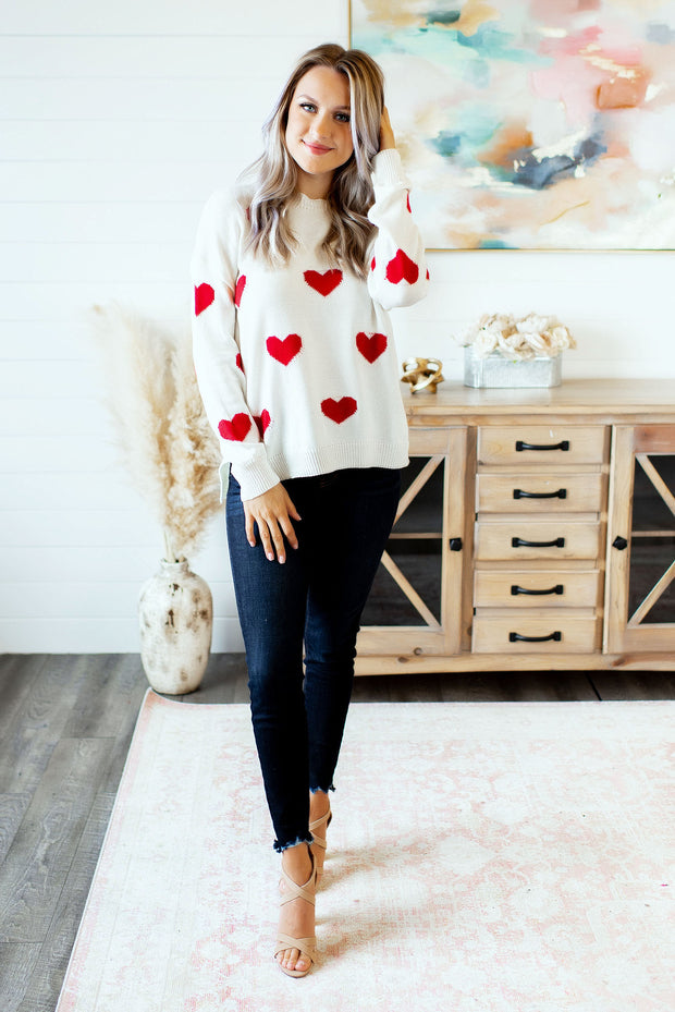 Cari Heart Sweater (Ivory/Red)