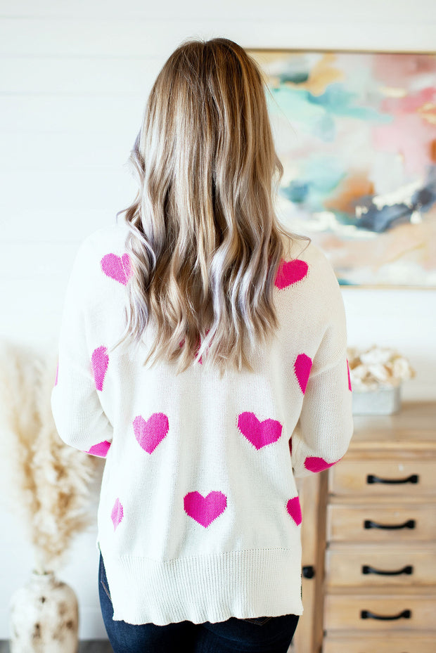Cari Heart Sweater (Ivory/Pink)