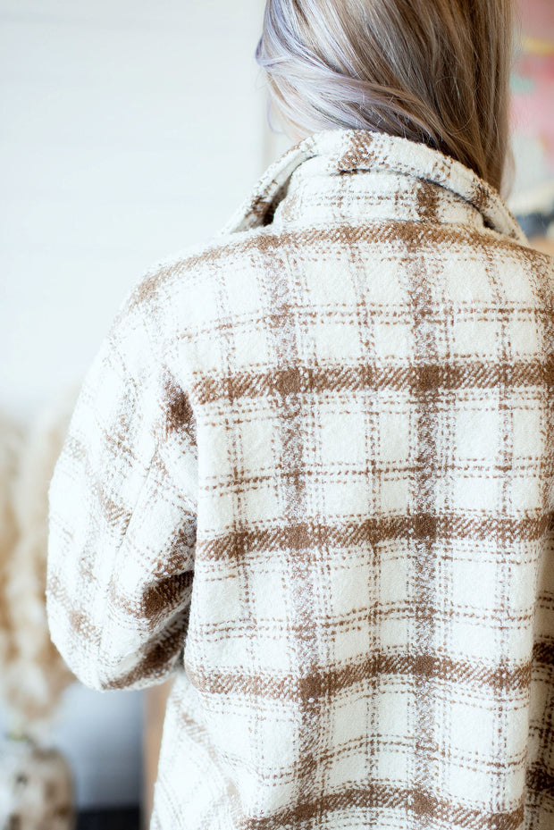 Plaid Shacket (Beige)