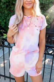 Distressed Tie Dye Romper (Lavender/Orange)FINAL SALE