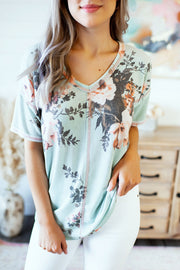 Planted With Love Floral Tee (Sage)