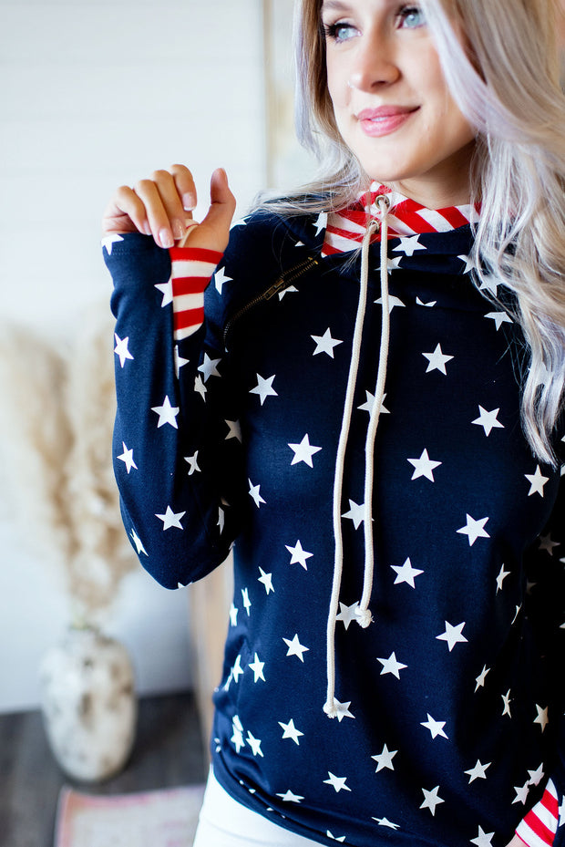 Freedom Rings Double Hoodie (Navy)