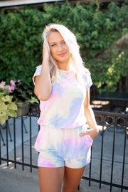 Distressed Tie Dye Romper (Blue/Pink)