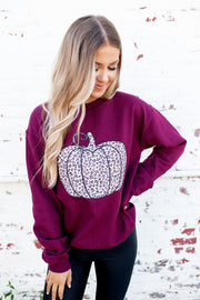 Spotted Pumpkin Crewneck (Burgundy)