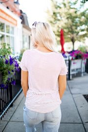 Twisted In Stripes Pocket Top (Lilac)