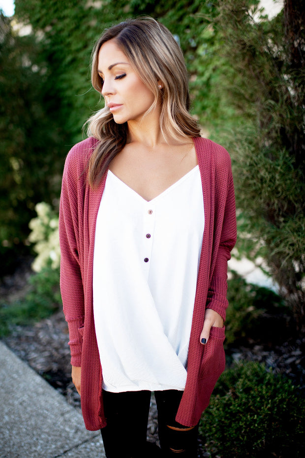 The Lettie Knit Cardigan (Rust)