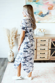 Cool In Camo Midi Dress (Grey)