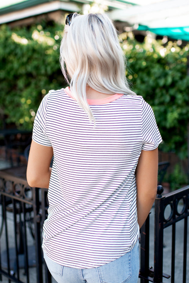 Twisted In Stripes Pocket Top (Coral)