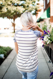 The Erin Striped Raglan Top (Oatmeal/Camo) FINAL SALE