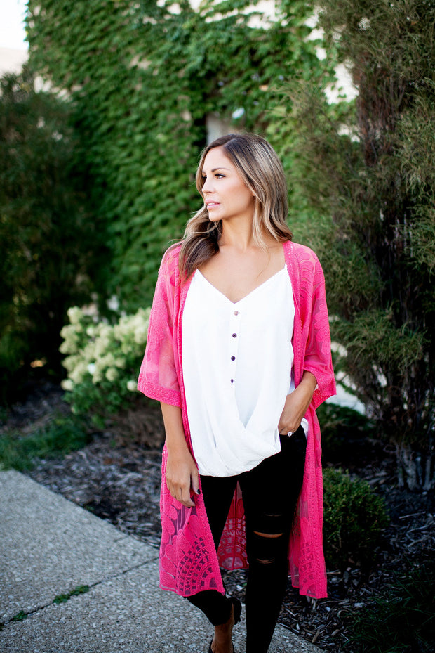 The Lucy Lace Kimono (Berry)FINAL SALE
