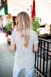Twisted In Stripes Pocket Top (Blush)