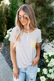 Twisted In Stripes Pocket Top (Lime)FINAL SALE