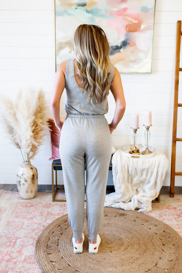 Step Up Your Game Jumpsuit (Grey)