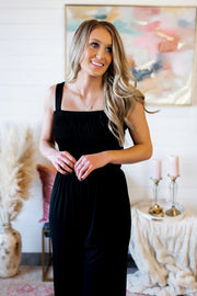 Smocked And Flare Jumpsuit (Black)