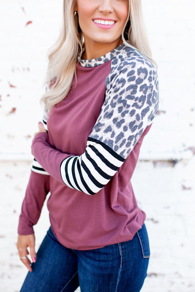 Spots Over Stripes Raglan Top (Red Brown)
