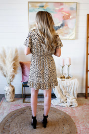 Sweet Spots Ruffle Dress (Taupe)