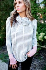 No Problems Striped Pullover (Grey/Pink)