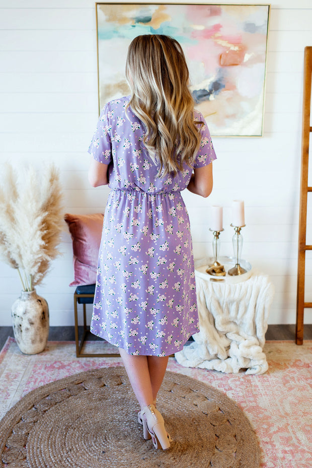The Loretta Floral Midi Dress (Lavender)