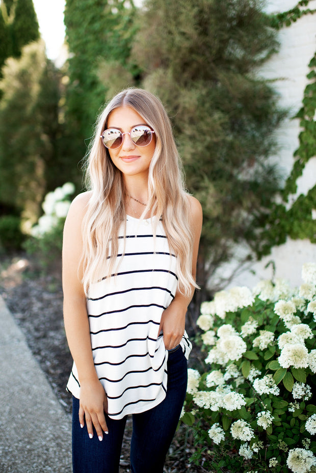 Call You In 5 Striped Tank (Ivory/Black Stripe)