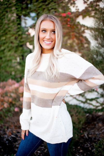 Just A Sprinkle Striped Sweater (Ivory/Taupe)