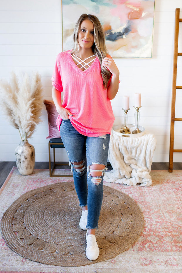 Time Saver Ribbed V-Neck (Neon Pink)