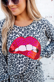 Lip Smackin' Leopard Lounge Set (Black) FINAL SALE