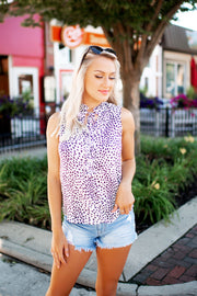 See My Spots Tank Blouse (Ivory/Black Spots) FINAL SALE