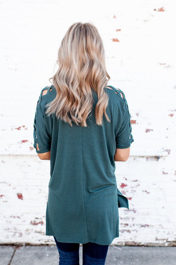 The Carson Cut Out Tee (Hunter Green) DOORBUSTER