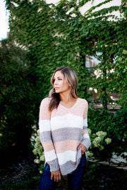 Striped Eyelash Sweater (Blush)