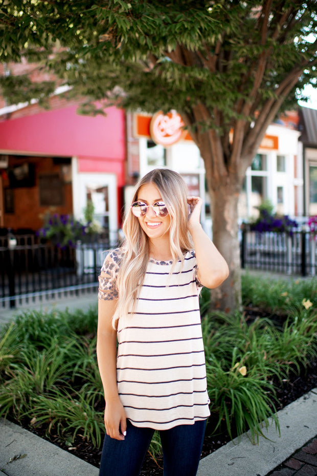 The Erin Striped Raglan Top (Oatmeal/Leopard) FINAL SALE