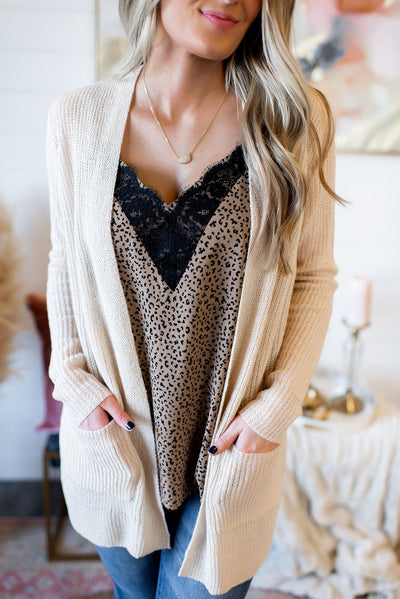 Bad Romance Knit Cardigan (Oatmeal) FINAL SALE