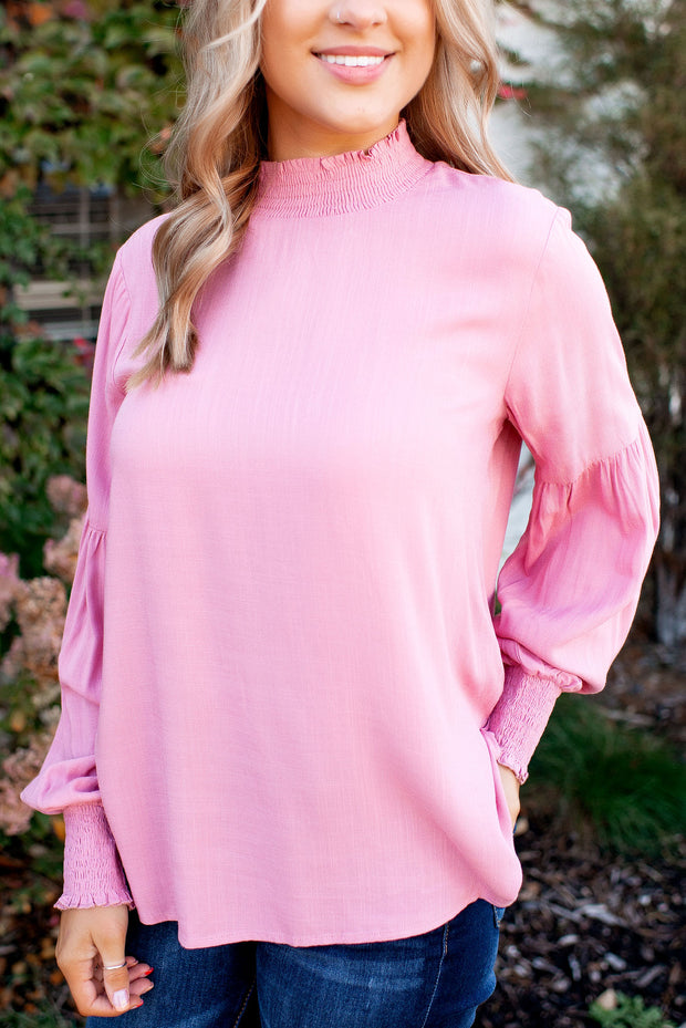 Smocked Mock Blouse (Rose)