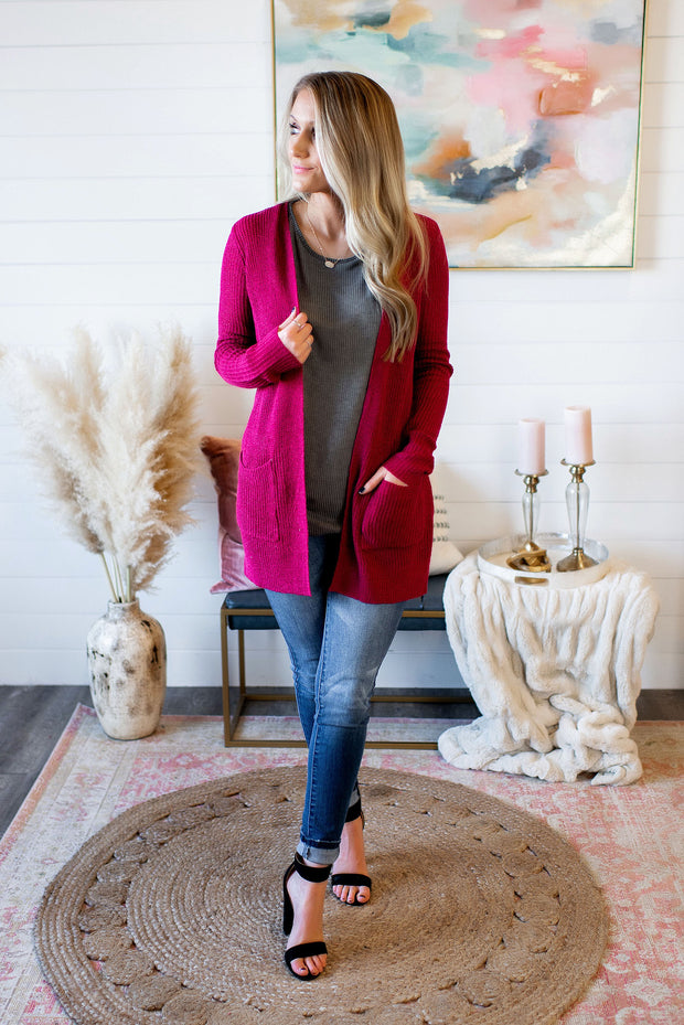 Bad Romance Knit Cardigan (Berry) FINAL SALE