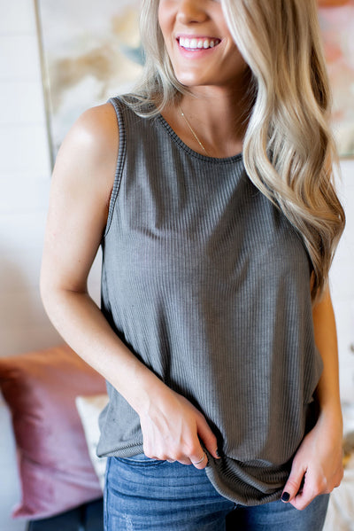 Must Have Ribbed Tank (Grey)