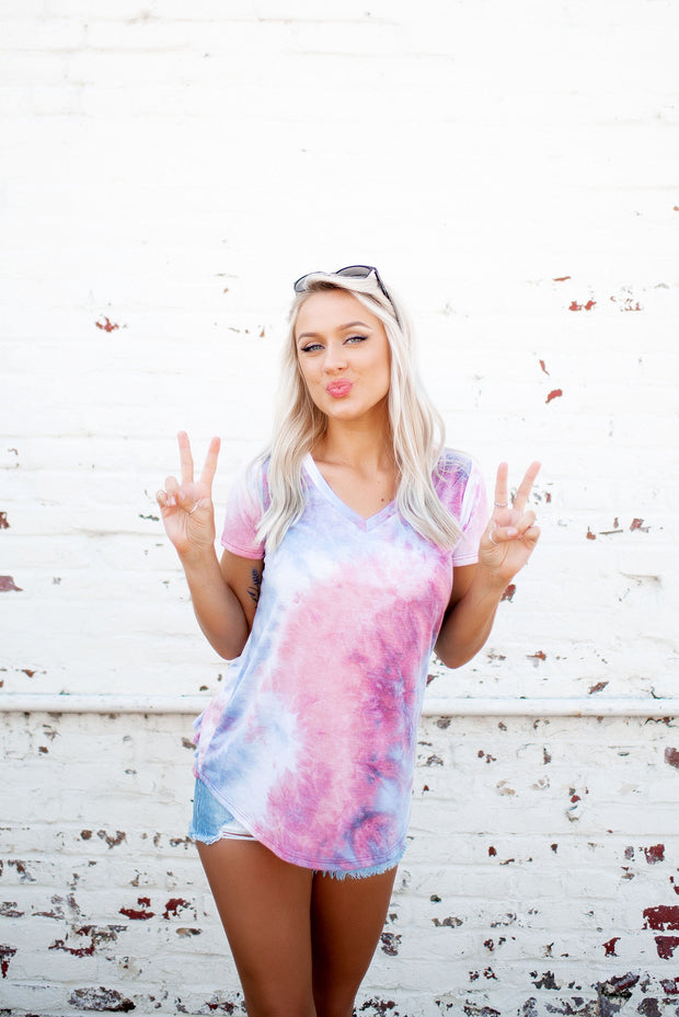 Ruffle Back Tie Dye Tee (Pink/Blue)FINAL SALE