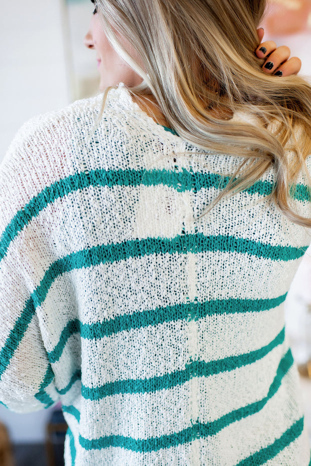 Striped Kimono Cardigan (Mint) FINAL SALE