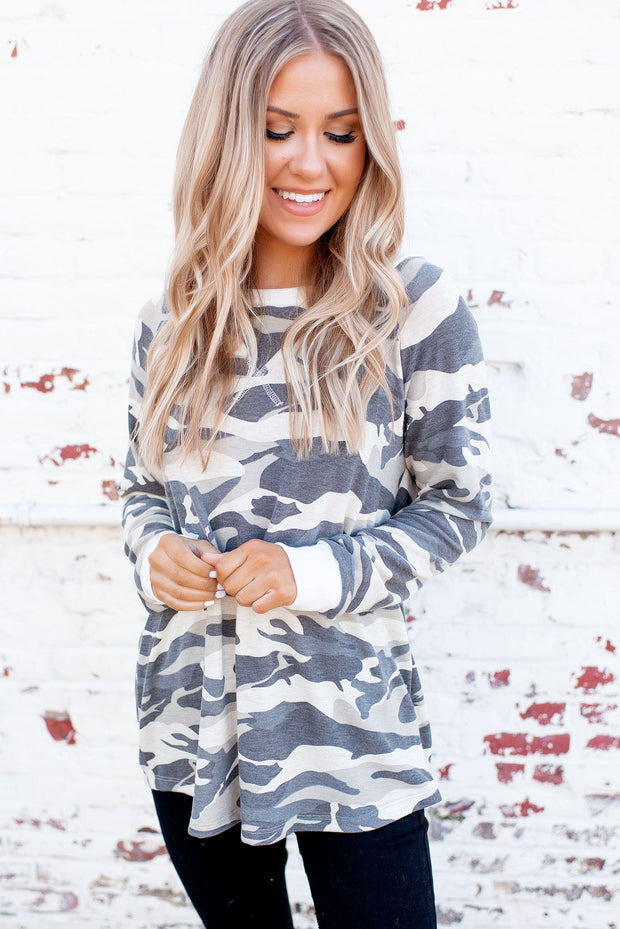 Ribbed Camo Top (Oatmeal/Green)