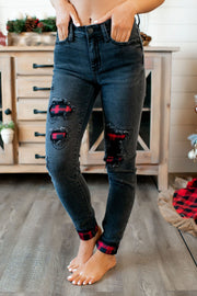 Judy Blue Buffalo Patch Jeans (Black) DOORBUSTER
