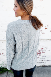 Cassie Cable Knit Sweater (Dusty Sage)