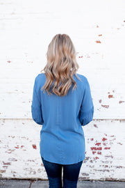 Smocked Mock Blouse (Denim)