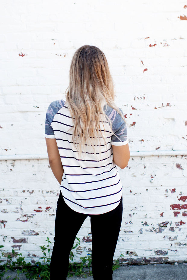 On The Lookout Striped Camo Tee (Ivory/Black)