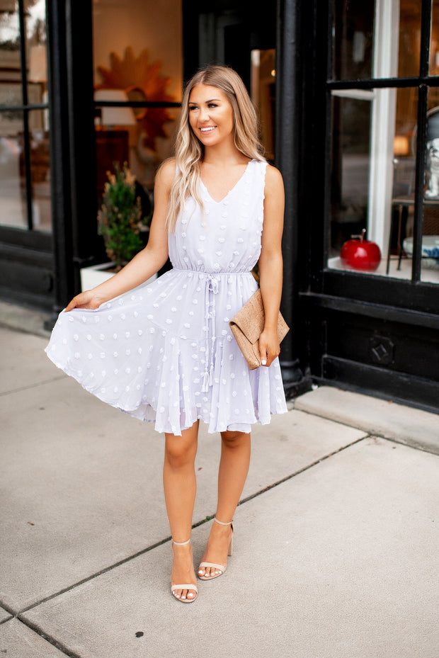 The Carrie Dotted Swiss Dress (Lilac Grey)